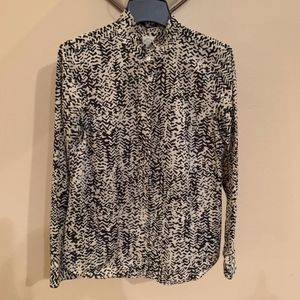 "J. Crew - ""The Perfect Shirt"" Black/Cream, Size 6"